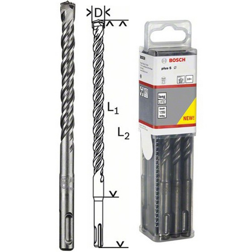 bosch sds plus 5 drill bit 10 pack 6x100x165mm 2608585617. Black Bedroom Furniture Sets. Home Design Ideas
