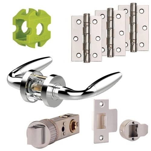 igtech Parma Door Handles Pack Hinge and Latch Pack Polished Chrome & Stain