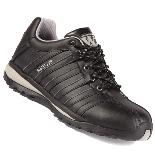 SS606 Black Leather Safety Trainers Size 10