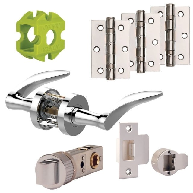 Jigtech Vecta Door Handles Pack Hinge And Latch Pack Satin