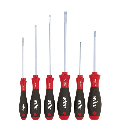 WIHA SoftFinish® slotted/ Pozidriv screwdriver set, 6 pcs.302 ZK6 SO