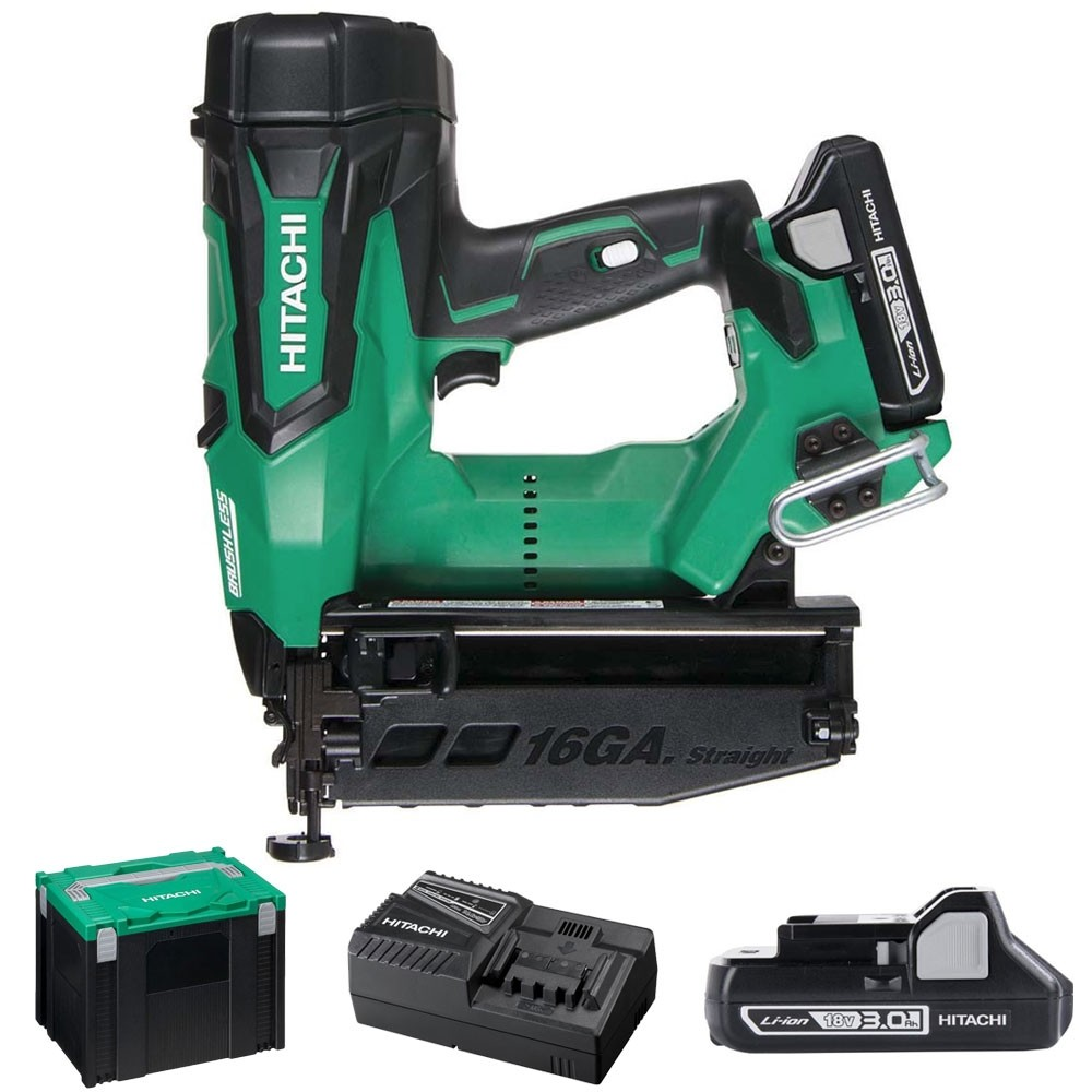 The Hitachi new design cordless finish nailer with brushless motor for longer run time, less maintenance and increased durability Lightweight and compact 3.0Ah Li-Ion battery No air hose or compressor required Eliminates the cost of fuel cells Up to 1100