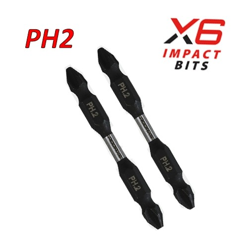 X6 Double Ended Impact Bits No2 x 65 2 Pack