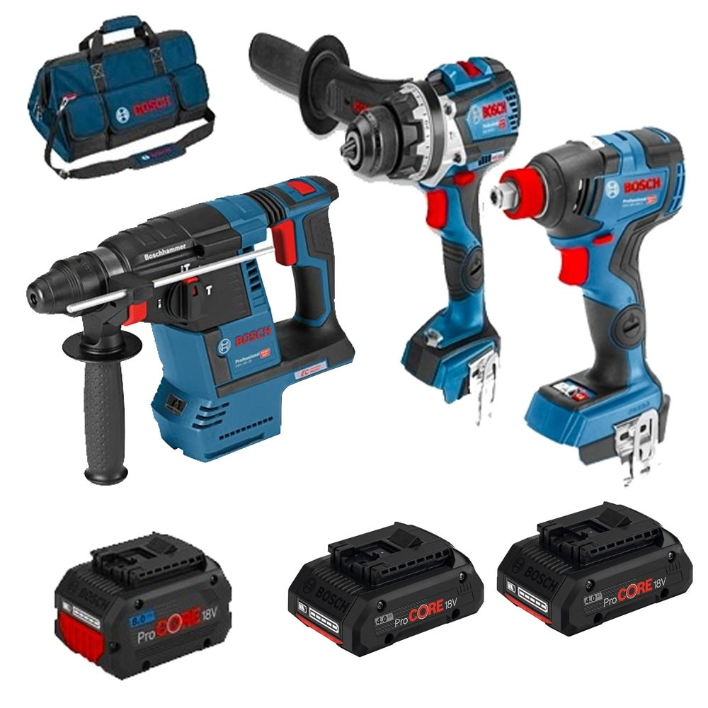 Bosch Brushless Triple Pack GSB18V-85 GDX18V GBH18V-26F With 1x8.0AH ProCore Batteries