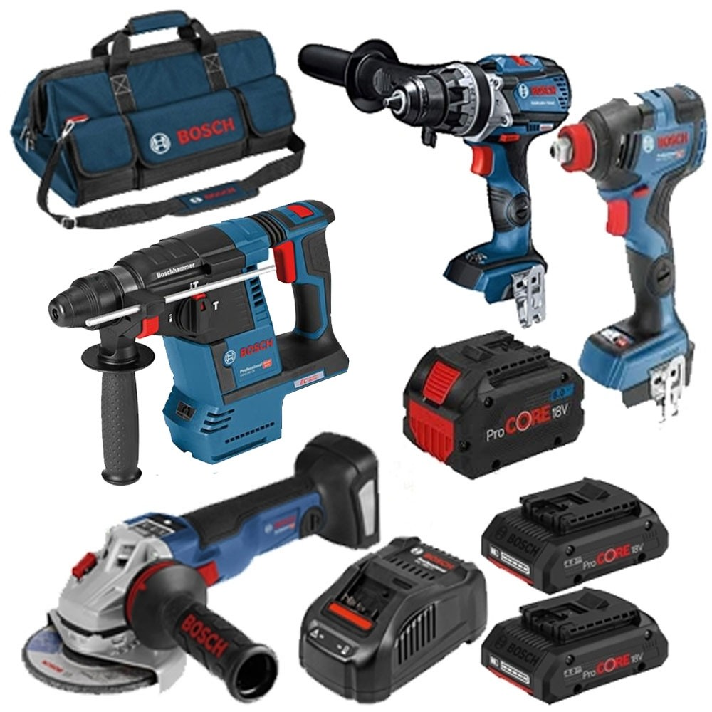 Bosch Brushless Triple Pack GSB18V-85 GDX18V GBH18V-26F With 2x4.0AH ProCore Batteries