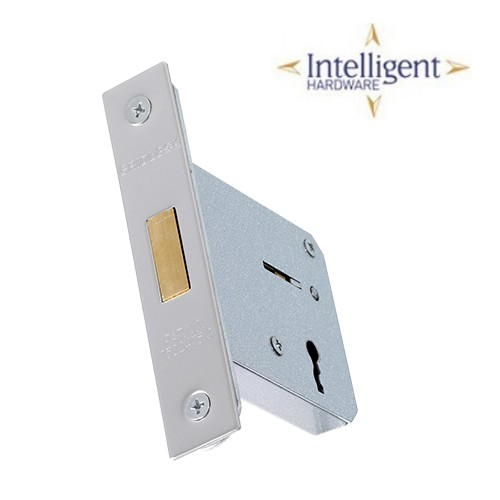 Mortice Deadlock 3 lever Polished Stainless Steel 65mm
