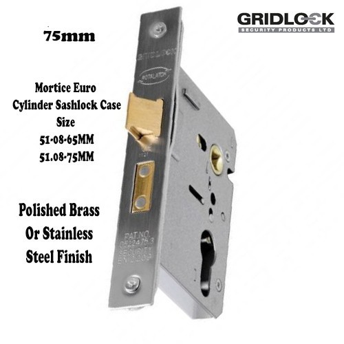 Gridlock Euro Cylinder Mortise Case.SASH.51.08 75mm