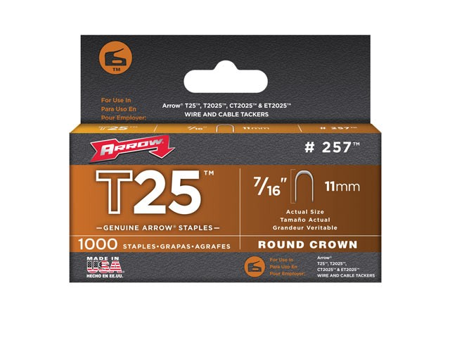 Arrow T25 Staples Box 5000 11mm - 7/16in ARRT25716