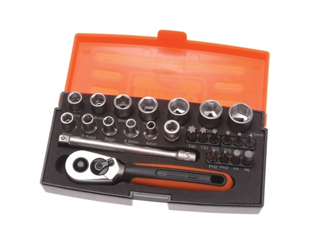 Bahco BAHSL25 Socket Set 25 Piece 1/4in Drive