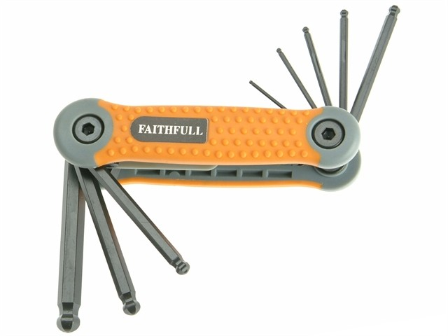 Faithfull Folding Hexagon Key Set 8 Ball End Metric (1.5-8mm) FAIHKSF8MB