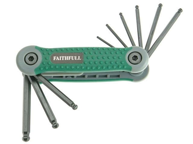 Faithfull Folding Hex Key Set 9 Ball End Imperial (5/64 - 1/4in) FAIHKSF9AFB
