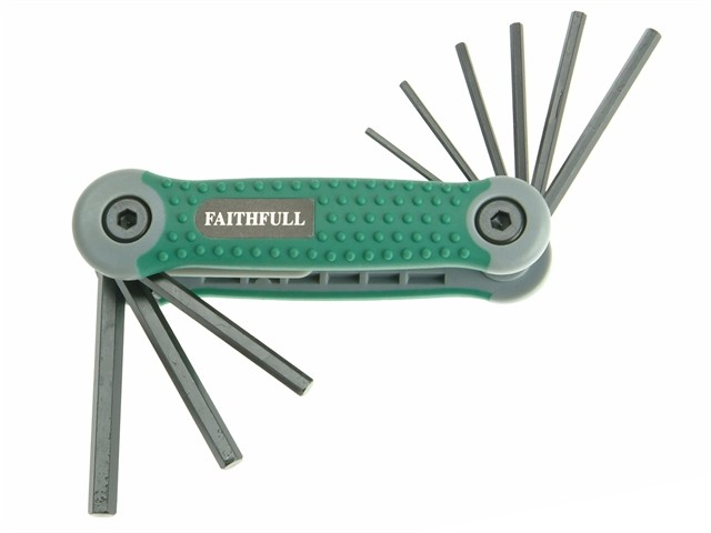Faithfull Folding Hex Key Set 9 Imperial (1/64 - 1/4in) FAIHKSF9AF