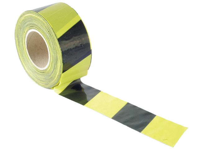 Faithfull FAITAPEBARBY Barrier Tape 70mm x 500m Black & Yellow