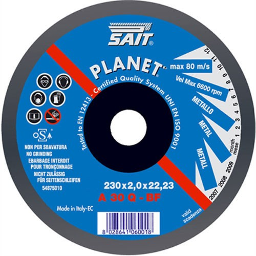 Sait 230 X 2 X 22.23 Abrasive Cutting Wheel Inox FLAT CENTRE
