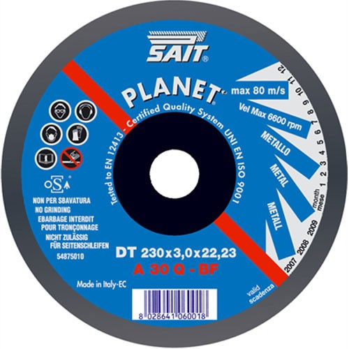 Sait PLANET -DT 230 X 3 X 22.23 Metal Cutting Wheel 3mm