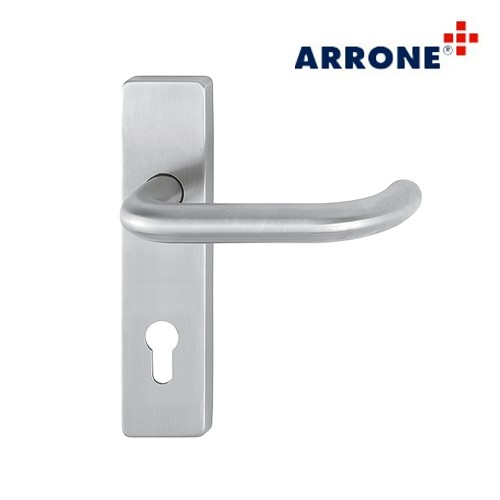 Stainless Steel Rectangular Handle Set on Backplate