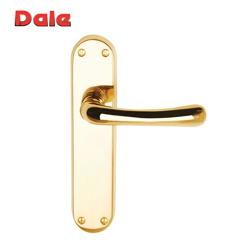 Polished Brass Lever Latch Furniture On Backplate - Clara DH000901