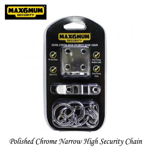 Narrow High Security Door Chain Polished Chrome
