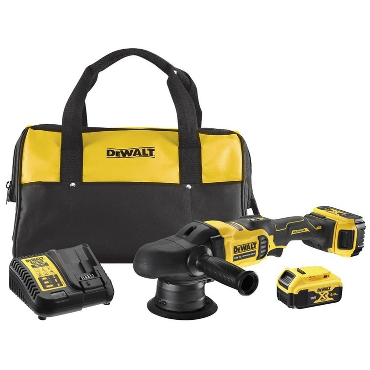 DEWALT DCM848P2 18v Brushless Dual Action Polisher 2x5ah batteries