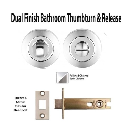 Dual Finish Bathroom Thumbturn and Release Lock Set