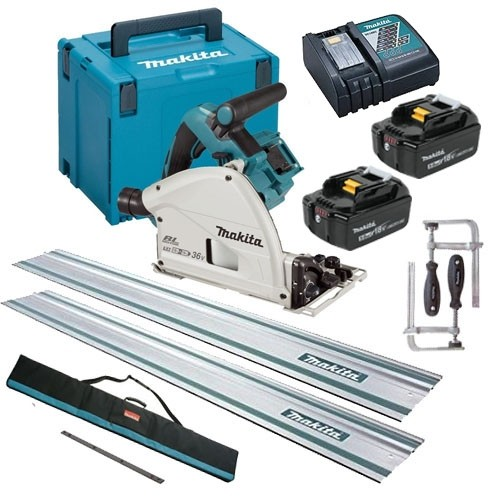 Makita DSP600TJ Twin 18V Brushless Plunge Saw Set LXT