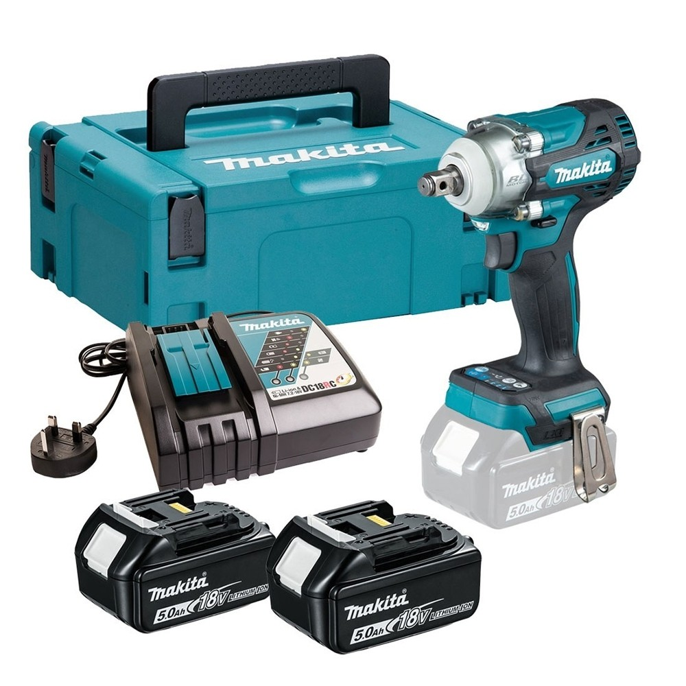 Makita DTW300RTJ 18V 2x5Ah 1/2in LXT Brushless Impact Wrench Kit