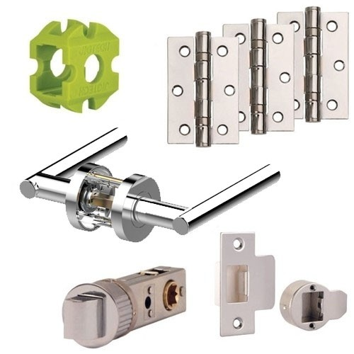 Jigtech Eden Premium Door Handles Pack Hinge and Latch Pack (Satin Chrome Finish)