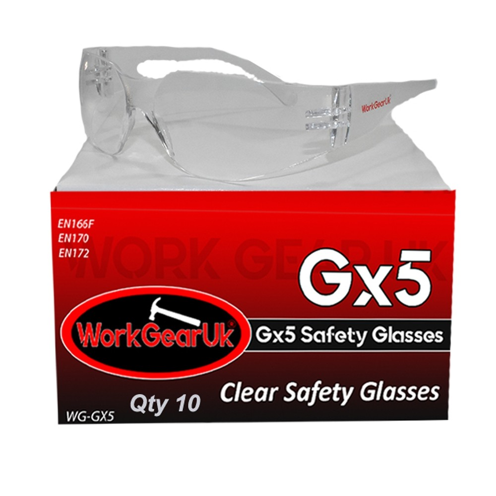 Work Gear Uk GX05 Clear Lens Safety Glass CE EN166 WG-GX05