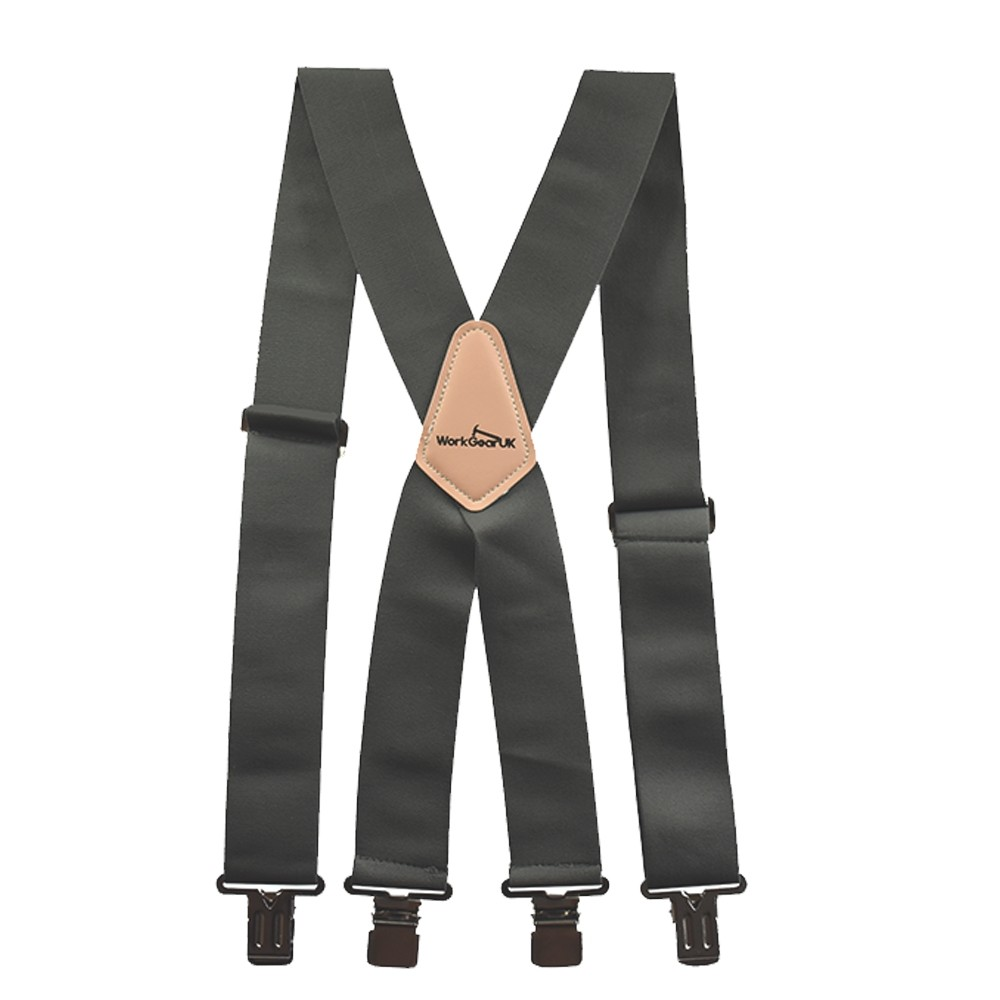 WorkGearUK Trouser Braces Heavy Duty Green and Black Nylon Elasticated Work Braces WG-HDB03