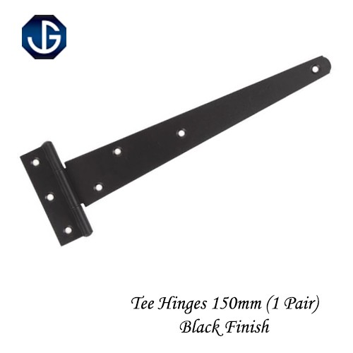 "Tee Hinges Light Duty Black Finish - 150mm (6"") 1 Pair"