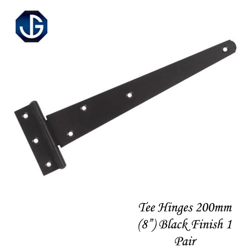 "Tee Hinges Light Duty Black Finish - 200mm (8"") 1 Pair"