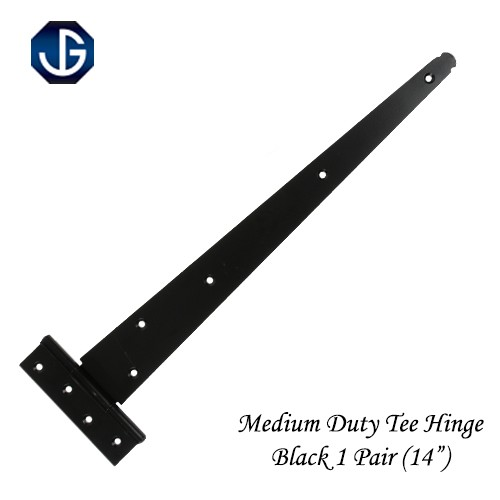 "Tee Hinges Medium Duty Epoxy Black - 350mm (14"") Pair"