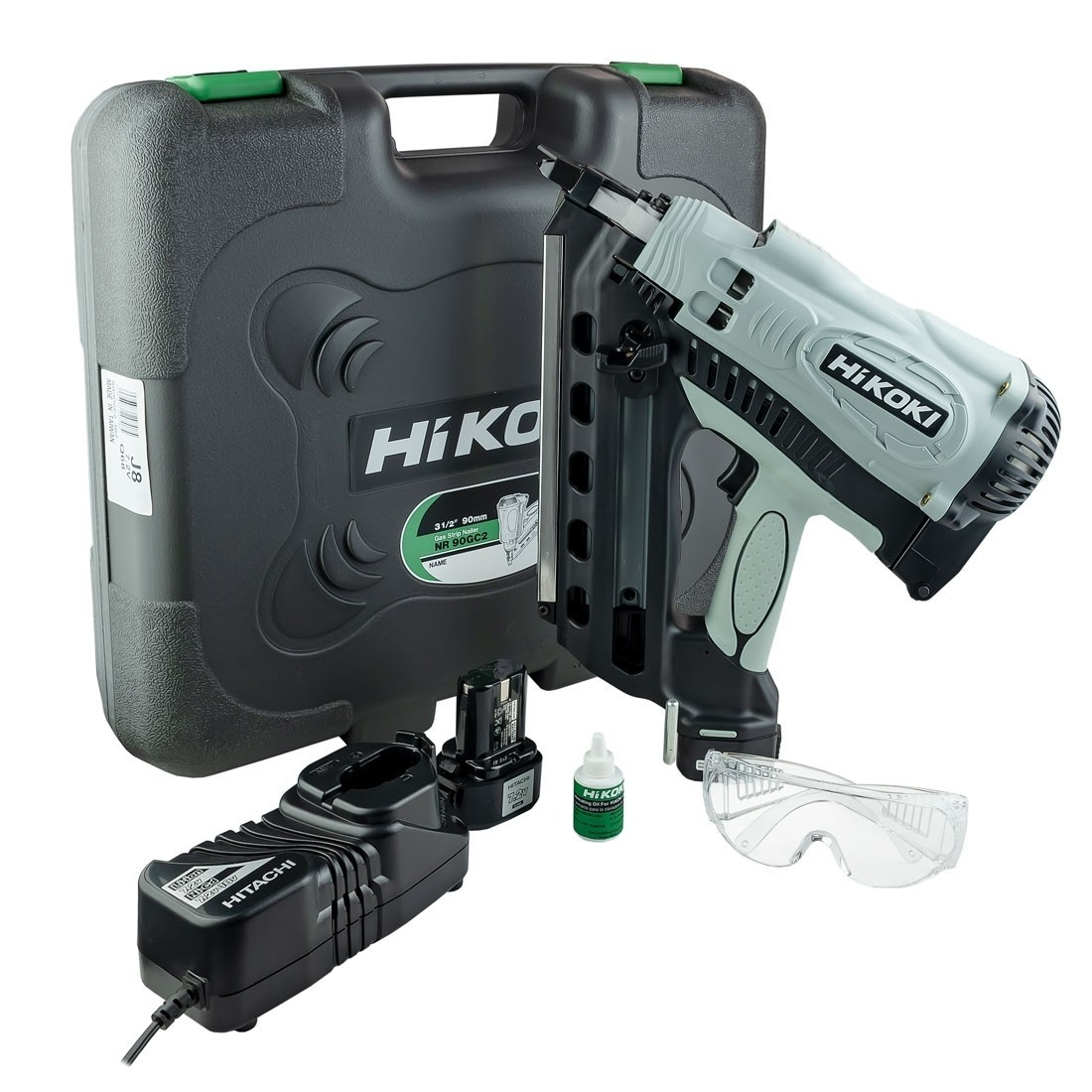 Hikoki NR90GC2/j8 1st Fix Gas Nailer, 2 x 1.5ah Batteries, Charger And Case