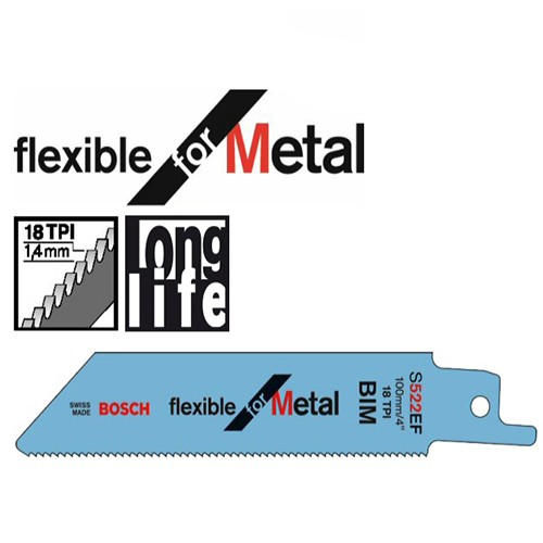 Bosch Flexible for Metal BIM S522EF Recip Blades, Pack of 5 2608656012