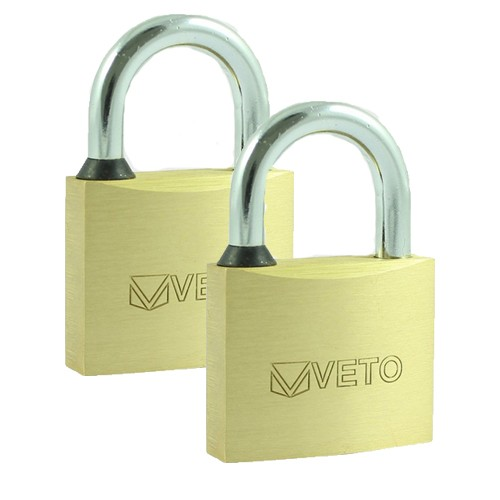 Brass Padlock Twin Pack 40mm