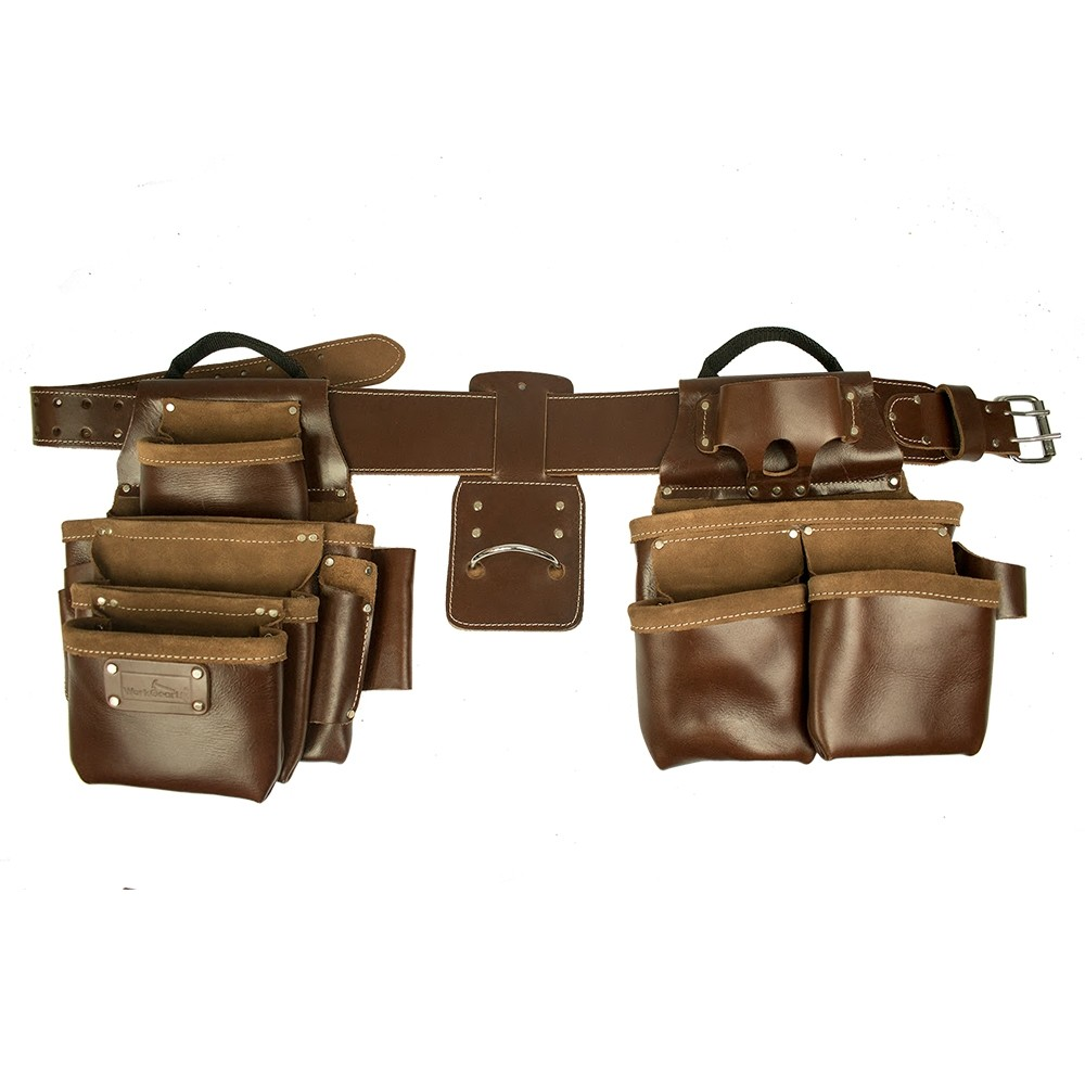 Work Gear Uk 11 Pocket Jumbo Tool Belt Set With a Heavy Duty Top Grain Tan pull - up Leather WG-PX17
