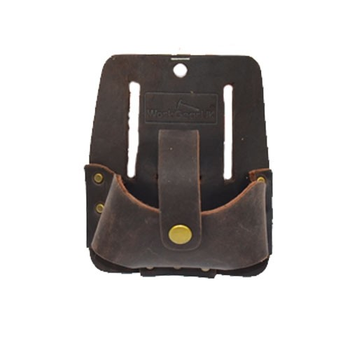 Work Gear Uk Tape Holder Button Loop with top grain leather in Tan WG-PX39