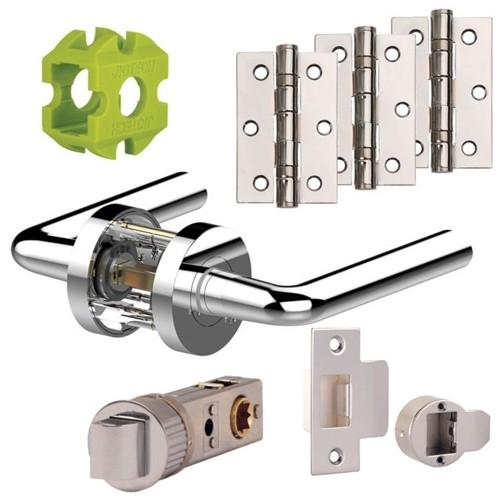 Jigtech Riva Door Handle Set Satin Chrome Finish