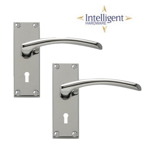 Roma Lock Lever Handle Set - Polished Chrome
