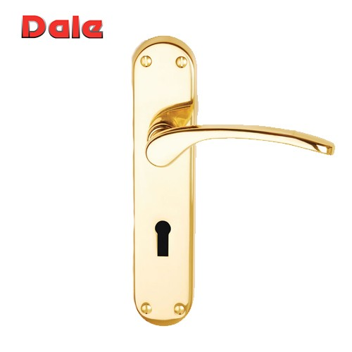 Polished Brass Suite Lever Lock on Backplate - Salo Dale Hardware DH920