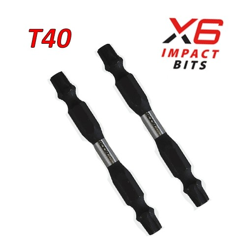X6 Double Ended Impact Bits T40 x 65 2 Pack