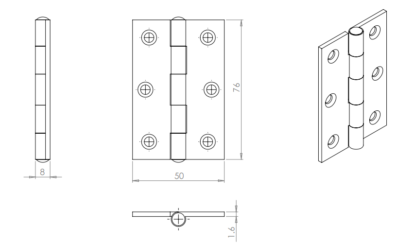 Carlisle Brass Fixed Pin Hinge 76mm x 50mm x 1.6mm - Powder Coat Black