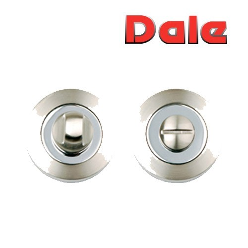 Satin Nickel/Polished Chrome Bathroom Turn & Release set Dale Hardware