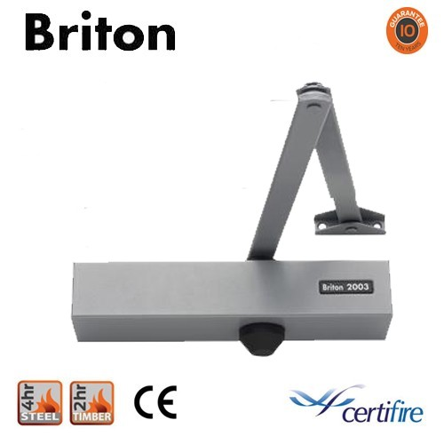 Briton 2003V Door Closer - Silver Arm/Cover