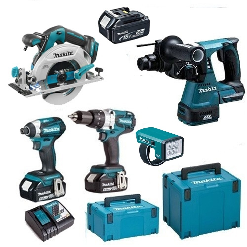 Makita 18v Brushless Kit Set TOPKIT5MAKPAC1 WITH 3X5.0Ah Batteries 2 Makpac Cases