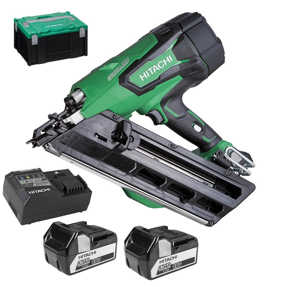 Hitachi NR1890DBCL 18v Clipped Head Framing Nailer 2x5.0ah batteries