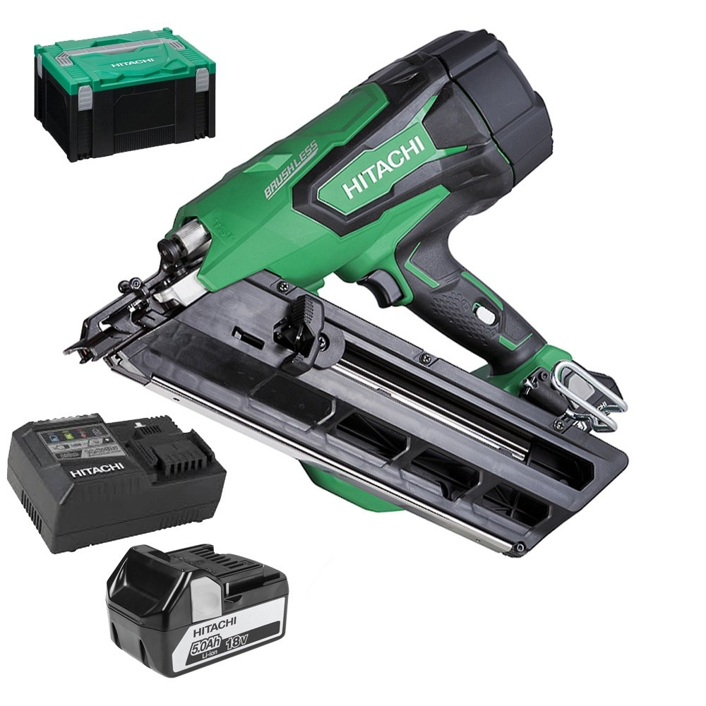 Hitachi NR1890DBCL 18v Clipped Head Framing Nailer 1x5.0ah batteries