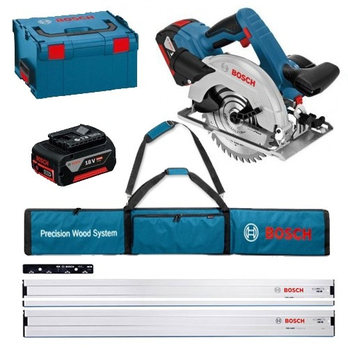 Bosch GKS18V57G 18V Circular Saw L-BOXX with 2x5.0Ah Batteries with 2 x 1.6m Track