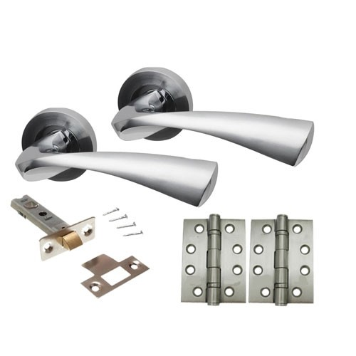 Truro Door Handle Set on Round Rose Dual Finish Range
