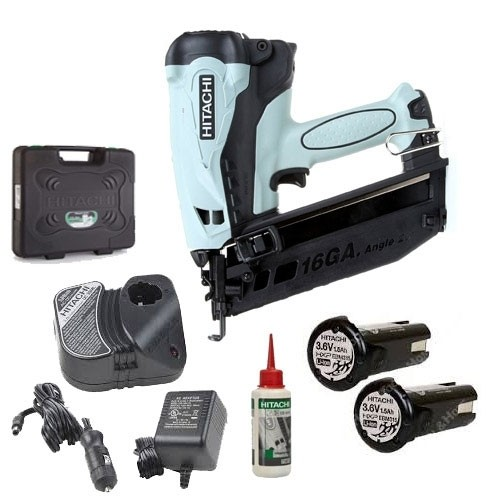 Hitachi NT65GB 2nd Fix Angled Gas Nailer, 2 Batteries, Charger And Case